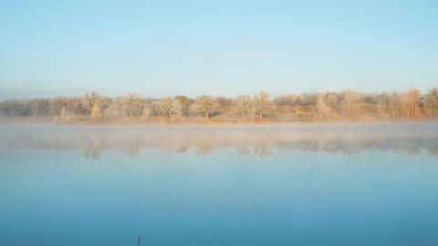 Morning fog on the lake in the frosty morning Live Action