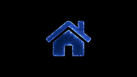 Symbol home. Blue Electric Glow Storm. looped video. Alpha channel black Animation