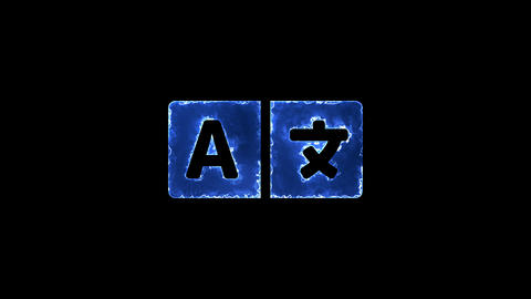Symbol language. Blue Electric Glow Storm. looped video. Alpha channel black Animation