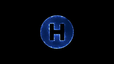 Symbol hospital symbol. Blue Electric Glow Storm. looped video. Alpha channel Animation