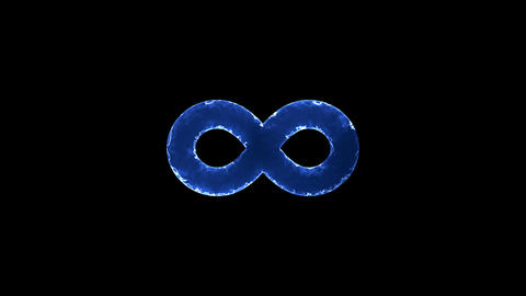 Symbol infinity. Blue Electric Glow Storm. looped video. Alpha channel black Animation