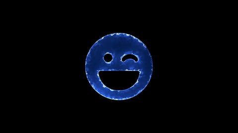 Symbol laugh wink. Blue Electric Glow Storm. looped video. Alpha channel black Animation
