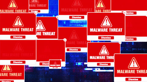 MALWARE THREAT Alert Warning Error Pop-up Notification Box On Screen Live Action