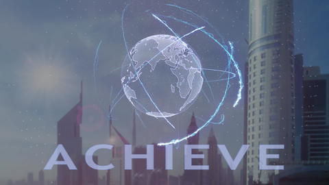Achieve text with 3d hologram of the planet Earth against the backdrop of the Footage