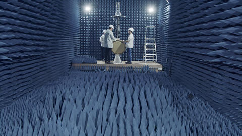 Beit Shean, November 20 2018. Scientists Testing a Radar in an anechoic chamber Footage