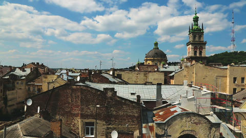 Beautiful roof cityscape of Lviv city, ancient architecture, elegant decay Live Action