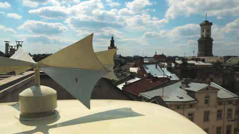 Beautiful rooftop view of Lviv cityscape, historical center, cultural heritage Live Action