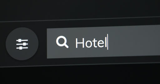 Hotel Word Written In Search Bar Live Action