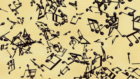 Music notes flowing on the old paper background, seamless animation Animation