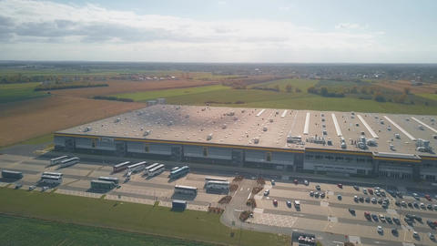 POZNAN, POLAND - OCTOBER 20, 2018. Amazon Fulfillment complex, aerial view Live Action