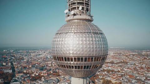 Aerial shot of Berlin cityscape and Fernsehturm or television tower details Footage