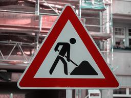 German Construction Work Street Sign In Berlin フォト