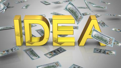 "Money Falling Near the Word ""Idea"" Animation"