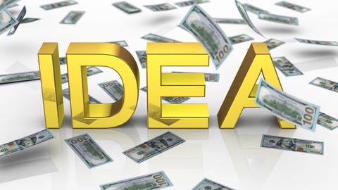 "Money Falling Near the Word ""Idea"" Animation"