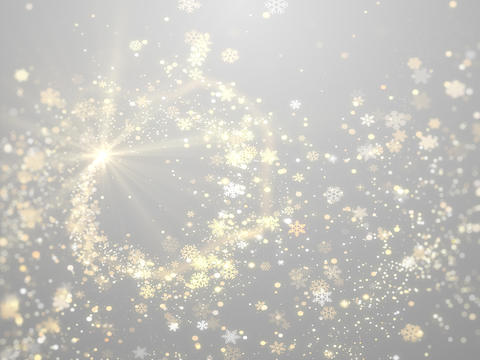 Gold Star burst and snowflakes glittering on white Christmas background Fotografía