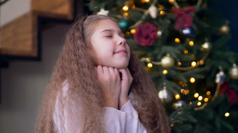 Excited child asking Santa claus to fulfill wishes Footage