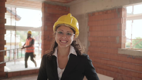 Happy Young Woman Working As Architect In Construction Site Live Action