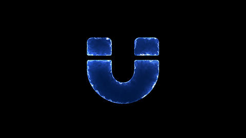 Symbol magnet. Blue Electric Glow Storm. looped video. Alpha channel black Animation