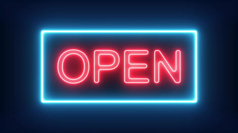We're Open Neon Sign Background Seamless Looping Animation