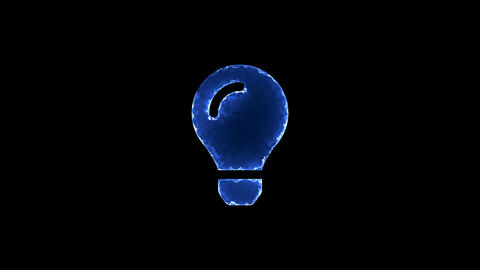 Symbol lightbulb. Blue Electric Glow Storm. looped video. Alpha channel black Animation