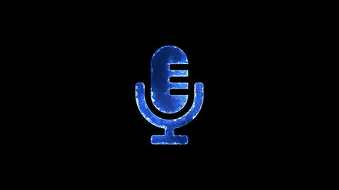 Symbol microphone. Blue Electric Glow Storm. looped video. Alpha channel black Animation