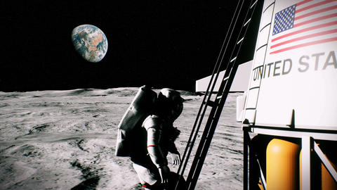 The astronaut climbs the stairs and returns to the moon lander Animation