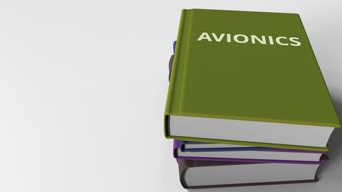 Book cover with AVIONICS title. 3D animation Live Action
