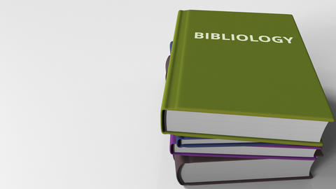 BIBLIOLOGY title on the book, conceptual 3D animation Live Action