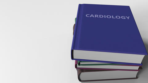 Heap of books on CARDIOLOGY, 3D animation Live Action