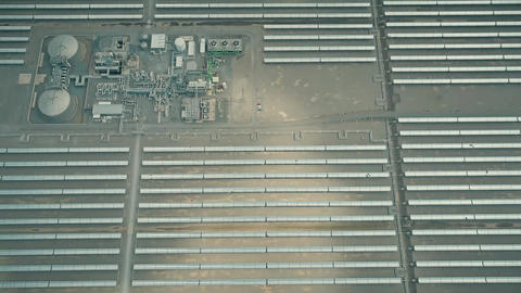 Aerial shot of a major solar power plant Live Action