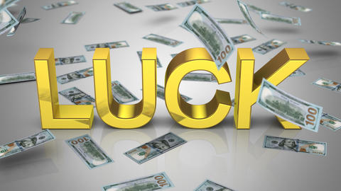"""Money Falling Near the Word """"Luck"""" Animation"""