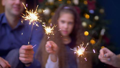 Joyful family holding bengal lights at christmas Footage