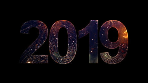 2019 text with fireworks celebrate with alpha, Stock Animation