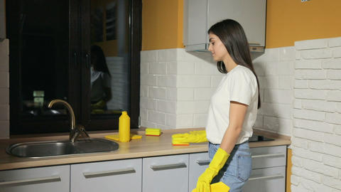 Girl Cleans the Kitchen Archivo