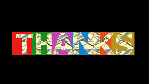 Thanks inscription animated letters in multicolored squares, metallic textured Animation