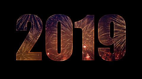2019 from colorful fireworks with alpha Stock Video Footage