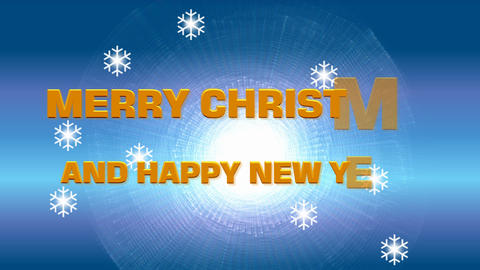 Merry christmas and happy new year, animated message on frosty winter blue Animation