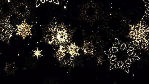 Glittering Gold Snowflakes Falling in Flakes Animation