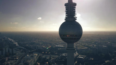 Aerial view of Berlin cityscape behind the silhouette of the television tower Footage