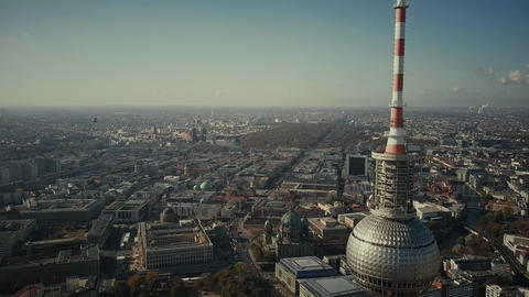 BERLIN, GERMANY - OCTOBER 21, 2018. Aerial view of famous Berliner Fernsehturm Footage