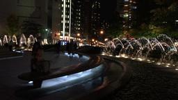 NEW YORK CITY - CIRCA OCTOBER, 2015: Fountain at night in Columbus Circle, compl Live Action