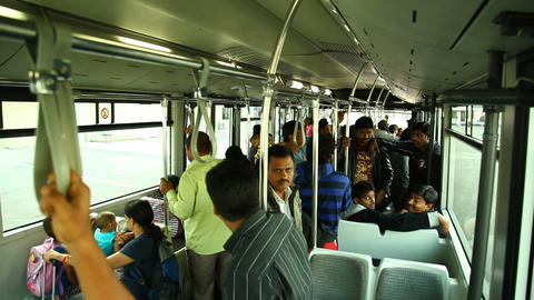 People in the airport Bus Footage