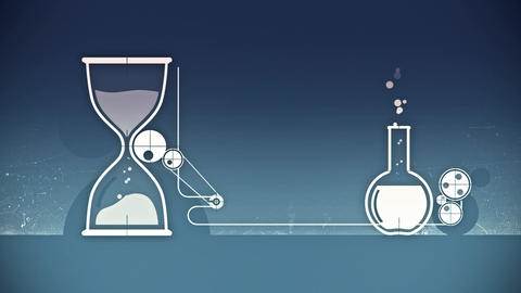 Animation of graphic elements with white sand clock and test-tube Animation