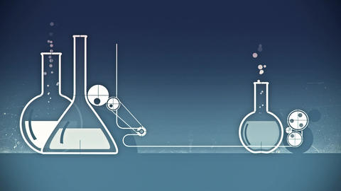 Animation of graphic elements with white test-tubes Animation