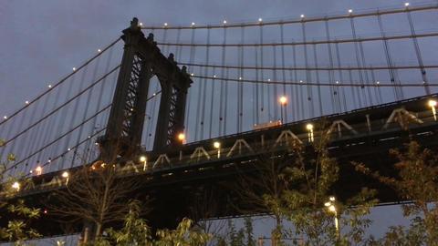 Manhattan Bridge in New York City at dusk Footage
