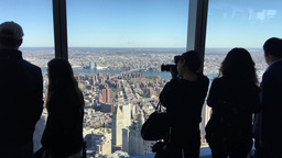 NEW YORK CITY - CIRCA OCTOBER, 2015: Tourists enjoy city view from Freedom Tower Footage