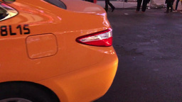 NEW YORK CITY - CIRCA OCTOBER, 2015: Yellow Cabs speed up along city streets. Th Footage