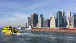 NEW YORK CITY – CIRCA OCTOBER, 2015: New York City Water Taxi with NYC skyline Footage