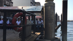 DUBAI - NOVEMBER 22, 2015: Dubai Creek with tourists on a beautiful day. The cit Footage