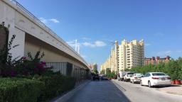 DUBAI - NOVEMBER 22, 2015: Dubai Jumeirah Palm Traffic. The Palm is an artificia Footage